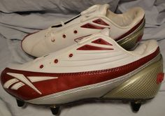 Reebok NFL Equipment Football Cleats Soccer Shoes size 10.5 Red, White, Silver #Reebok #Cleats