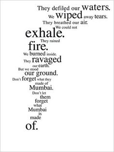 Thoughtful Ads capturing the essence of Mumbai's response to the 11/26 attacks by 10 terrorists from Pakistan.