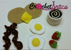 Crochet food, Breakfast play food set, crochet play food, eggs, bacon, pancakes, coffee, strawberries, play food, breakfast, free shipping - pinned by pin4etsy.com