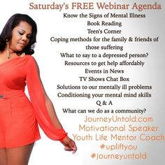 Depressed? Families dealing with the mentally ill? Are you trying hard to cope but life just keep kicking you down?  Text 407-476-4105 to register limited  seats left!  YOU NEED TO BE ON MY WEBINAR TOMORROW NIGHT!!!!! FREE BOOK GIVEAWAY  #meettheauthor #bookreading #author #scandal #empire #BeingMaryJane #mentalillness #depression #anxiety #endthetaboo
