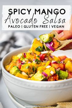 6-ingredient mango avocado salsa | Fresh and healthy 6-ingredient mango avocado salsa is the perfect summer treat. It's sweet, spicy, and undoubtedly refreshing. Smooth avocado paired with sweet mango and spicy jalapeño will have you craving more with every bite. Not only is it vegan, paleo and made with wholesome ingredients, it is also the easiest and most perfect party dish to please the crowd. | #mangosalsa #summersalsa #veganrecipe #glutenfreerecipe #salsarecipe