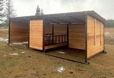 """With this shelter, your livestock can eat inside, out of the rain! It's built on """"skids"""" for easy moving. Horse Shed, Horse Barn Plans, Barn Stalls, Horse Stalls, Stables, Rinder Stall, Horse Feeder, Small Horse Barns, Horse Paddock"""