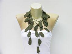 CROCHET NECKLACE   Crochet leaf jewelry /crochet pendant / crochet necklace