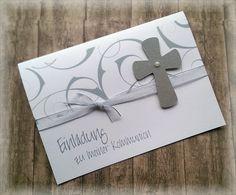 Die besondere Einladung  für einen besonderen Tag im Leben Ihres Kindes!   Sie bieten hier auf 1 Einladungskarte  mit farblich passendem Kuvert und Einlegeblatt,  die liebevoll in Handarbeit...