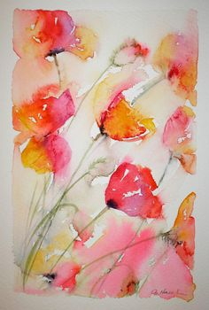 SUNNY POPPIES watercolour painting - original art by artist Amanda Hawkins 14 x 22cm decorative floral cottage garden country flowers