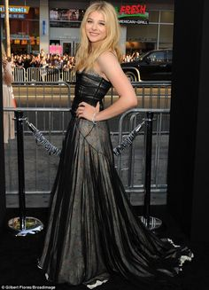 Chloe Moretz chose an unusual layered Schiaperelli gown for the If I Stay premiere http://dailym.ai/1ljxJTe