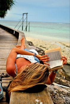 Reading outside.