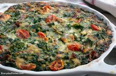 Crustless Spinach Quiche Recipe Breakfast and Brunch, Main Dishes with shallots, evaporated milk, flour, eggs, baby spinach, grape tomatoes, bacon slices, gruyere cheese, salt, pepper, broccoli, cheddar cheese, fresh chives, basil leaves, tomatoes, shredded mozzarella cheese