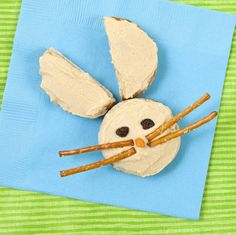 Pita Rabbit- Family Fun  Try our Pita Rabbit. For his ears, cut a mini pita in half. Spread hummus (or cream cheese) on the ears and on another pita. Add raisin eyes, a carrot nose, and pretzel-stick whiskers. Somebunny is ready for snack time!