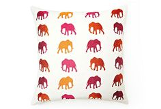 One Kings Lane - Foreign Exchange - Elephant 20x20 Pillow, White/Multi