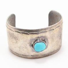 VTG Sterling Silver - NAVAJO 1930s Stamped Turquoise Ingot Cuff Bracelet - 40g