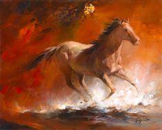 Geschilderd doek met een galopperend paard