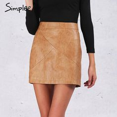 5121b12cca Simplee Winter high waist classic faux leather skirt Chic slim bodycon  pencil skirts Casual autumn black short skirt