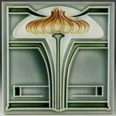 c.1900 NTSG GERMAN ART NOUVEAU STYLISED FLORAL TILE #2