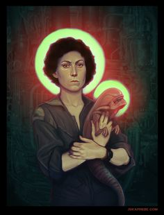 Incredible #Alien inspired Ripley art juxtapose with iconic religious imagery by Jska Priebe