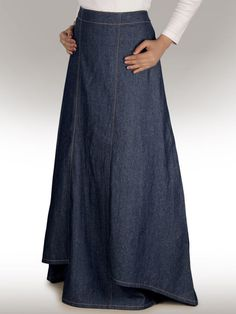 Zia Denim Blue Skirt (AS-001) Formal & Daily Wear Long Skirt - also Plus Sizes #MyBatua #Maxi