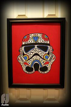 Stormtrooper - Star Wars - Day of the Dead - Sugar Skull - Original Painting.