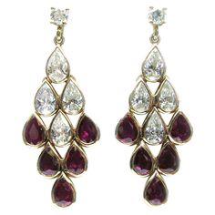 Ruby Diamond Gold Pear Drop Dangle Earrings   From a unique collection of vintage dangle earrings at https://www.1stdibs.com/jewelry/earrings/dangle-earrings/