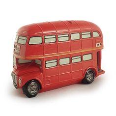 Cofre Ônibus Londres Pequeno Vermelho em Resina - 12x8 cm