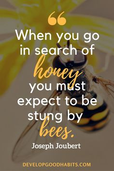 """Quotes for overcoming obstacles & positive quotes to help achieve success -- """"When you go in search of honey, you must expect to be stung by bees."""" ― Joseph Joubert"""