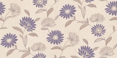 Laurine (LA91612) - Grandeco Wallpapers - A stylised  floral trail with pretty fresh purple daisy like flowers entwined with soft grey brown allium blooms on a delicate grey brown trail against a stone off white mottled background.  Paste the wall. Please request sample for true colour match.