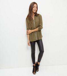 Khaki Zip Front Double Pocket Shirt | New Look