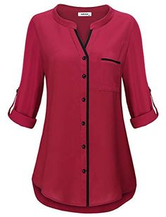 Henley Tunic Shirts for Women to Wear with Sleeve Simple Style Casual V Neck Button Down Plain Tops Fitted Tshirt Knit Basic Jersey Lady Modern Peplum Blouse Prime Club Wear Black MBestseller AxByCzD Damen Manschette Henley V-Ausschnitt Chiffon Tunik Kurta Designs, Blouse Designs, Tunic Blouse, Shirt Blouses, Tunic Tops, Shirts, Blouse Styles, Chiffon Tops, Fashion Outfits