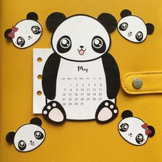 FREE Panda calendar divider and matching paperclips to print to decorate your planner.