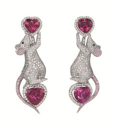 Diamond, ruby and pink sapphire mouse earrings made by Chopard- whimsical Animal Earrings, Animal Jewelry, Jewelry Art, Jewelry Accessories, Vintage Jewelry, Fine Jewelry, Jewelry Design, Unique Jewelry, Indian Jewelry