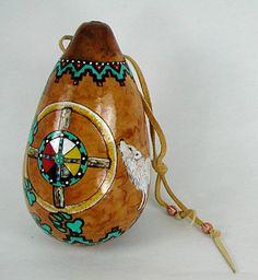 Native American Apache White Wolf Spirit Ceremonial Palm Rattle