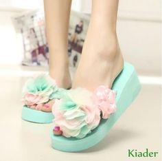 Womens Sweet Slippers Flower Flat Platform Flip Flops Sandals Summer Beach Shoes