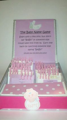 Baby shower name game display