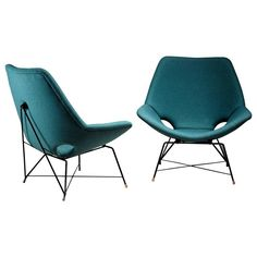 Pair of Lounge Chairs by Augusto Bozzi for Saporiti, Italy, 1960s | From a unique collection of antique and modern lounge chairs at https://www.1stdibs.com/furniture/seating/lounge-chairs/