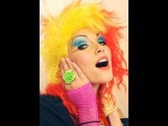 cyndi lauper 80's makeup tutorial.     (i fast forwarded through the first minute to avoid the singing. haha)