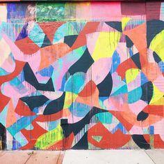 Colorful mural by Maya Hayuk in Brooklyn, New York City.