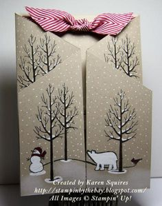 Here's a card I made using the White Christmas Stamp Set. http://stampinbythebay.blogspot.com/2014/11/white-christmas-stand-up-card.html