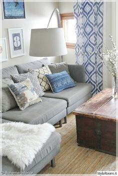 olohuone,sininen,skandinaavinen,harmaa,tyyny