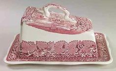 Mason's Vista Pink Large Cheese Dish with Lid Wedge