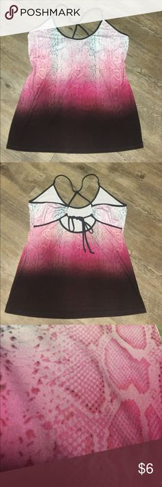 Snake Print Top Sz Large Venus Chic and Stylish top by Venus Brand Clothing. Pink Snake Print that has an Ombré look as it fades down to a Chocolate Brown at Bottom. Criss Cross Back..Woman's Size Large (measures 18in laying flat across bust)  Great for Dress up or Down  Excellent Condition VENUS Tops Tank Tops