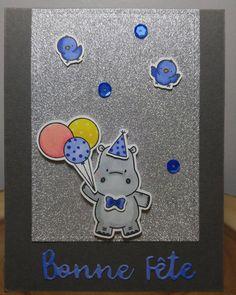 Another card with these soooo cute hippos from MFT / Une autre carte avec ces hippos trop mignons de MFT. #mft #mftstamps #happyhippos #carte #card #coloring #spectrumnoir #bonnefete #birthday #handmadecard #handmade #faitmain #hippo #papercraft #birthdaycard #glitterpaper