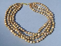 Pearl Statement Necklace 4 Strand Metallic Antique by PrairieIce, $110.00