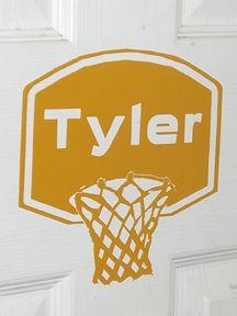 basketball Door Decorating Ideas | vinyl basketball standard on door tyler