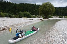 Bike+Sup Bikerafting Boot am Fahrrad Flussrafting