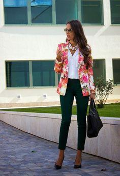 Floral jacket and black skinnies