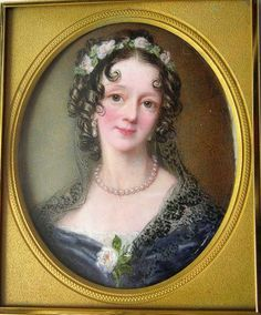 Miniature Watercolour On Ivory Portrait Of Mrs. John Probyn Wearing A Black Lace Shawl Over A Black Dress With White Rose Corsage And Garland Of White Roses In Her Brown Hair - Signed Mrs. Henry Moseley c. Animal Painter, Rose Corsage, Victorian Hairstyles, Gallery Website, Miniature Portraits, Online Gallery, Black Laces, White Roses, Brown Hair