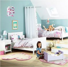 Great blog for SHARED KIDS ROOMS...love the curtain in the middle. Sometimes they need that!