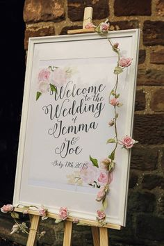 Welcome Sign Lettering Calligraphy Floral Stylish Pastel Rustic Barn Wedding helenrussellphoto. Wedding Table, Diy Wedding, Rustic Wedding, Wedding Day, Spring Wedding, Trendy Wedding, Wedding Stuff, Wedding Themes, Wedding Cards