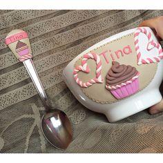Polymer clay handmade homemade beige brown muffin cerela bowl mug heart