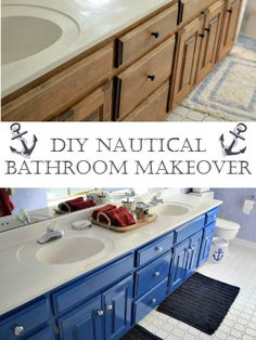 Amazing Before and After of a nautical children's bathroom makeover just by painting existing cabinets and accessorizing #stylereflush