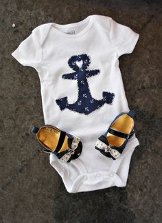 Olivia Paige - Rockabilly Little Sailor navy Anchor bodysuit with shoes outfit. $25.00, via Etsy.